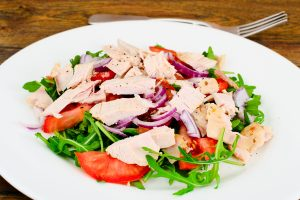 Salad with Arugula, Tomatoes, Turkey Breast, Grape Seed Oil, Soy