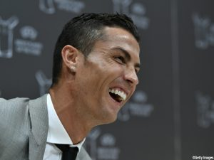 MONACO, MONACO - AUGUST 24: UEFA Player of the Year Award winner Christiano Ronaldo during a press conference following the UEFA Champions League 2016/17 Group Stage Draw part of the UEFA ECF Season Kick Off 2017/18 on August 24, 2017 in Monaco, Monaco. (Photo by Harold Cunningham - UEFA/UEFA via Getty Images)