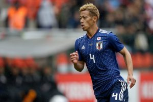 LUIK, BELGIUM - MARCH 27: Keisuke Honda of Japan  during the  International Friendly match between Japan  v Ukraine  at the Stade Maurice Dufrasne on March 27, 2018 in Luik Belgium (Photo by Jeroen Meuwsen/Soccrates/Getty Images)