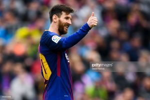 during the La Liga match between Barcelona and Valencia at Camp Nou on April 14, 2018 in Barcelona, Spain.