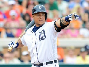 LAKELAND, FL - FEBRUARY 24:  Miguel Cabrera #24 of the Detroit Tigers looks on while batting against the Philadelphia Phillies during the spring training game at Joker Marchant Stadium on February 24, 2013 in Lakeland, Florida. The game ended in a 10 inning 5-5 tie.  (Photo by Mark Cunningham/MLB Photos via Getty Images)