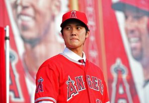 Dec 9, 2017; Anaheim, CA, USA; Los Angeles Angels player Shohei Ohtani (17) is introduced to media and fans during a press conference today at Anaheim Stadium of Anaheim.  Mandatory Credit: Jayne Kamin-Oncea-USA TODAY Sports