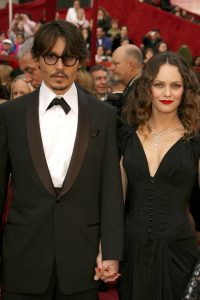 HOLLYWOOD - FEBRUARY 24:  Actor Johnny Depp and singer Vanessa Paradis attends the 80th Annual Academy Awards at the Kodak Theatre on February 24, 2008 in Los Angeles, California.  (Photo by Jeff Vespa/WireImage)